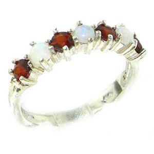 925 Sterling Silver Real Genuine Opal & Garnet Womans Eternity Ring