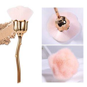 AKOAK 1 Pack Manicure Dust Brush, Pink Rose Brush, Suitable for Nail Trimming Cleaning Brush Loose Powder Blush Brush