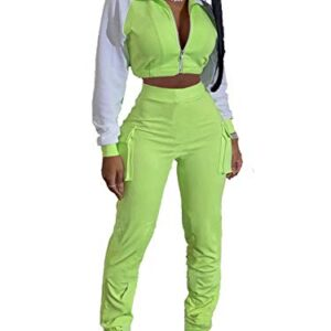 Women Two Piece Outfits Tracksuit Reflective Strip Zip Jackets High Waisted Pockets Sweatpants Sets Jogging Sportswear