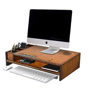 WAYTRIM 2-Tier Bamboo Monitor Stand, Wood Computer Monitor Riser, Wooden Desk Organizers with Adjustable Storage…