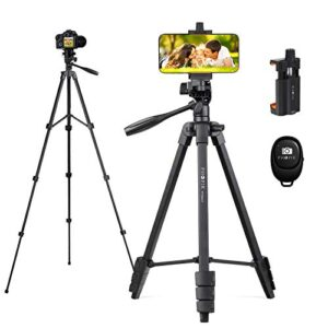 PHOPIK Phone Tripod 55 inches, Aluminum Travel/Camera/Mobile Phone Tripod with Carrying Bag with a Maximum Load of 6.6…