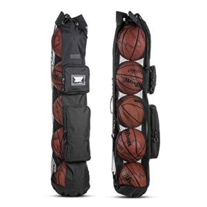 Fitdom Heavy Duty XL Basketball Mesh Equipment Ball Bag w/Adjustable Shoulder Strap Design for Coach with 2 Front…
