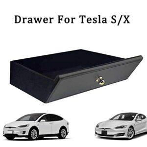 LMZX Tesla Model S X Center Console Drawer Cubby Organizer Box Storage Box Insert Wooden Drawer for Tesla Model S Model…