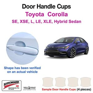 YelloPro Custom Fit Door Handle Cup 3M Scotchgard Anti Scratch Clear Paint Protector Film Cover Self Healing PPF Guard…
