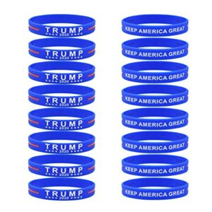 16 Pack Trump 2020 Bracelets Silicone Wristbands Inspirational Motivational Bangle