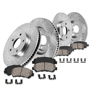CDS02916 FRONT 300mm + REAR 302mm D/S 5 Lug [4] Rotors + Brake Pads + Pad Clips [ fit Ford Fusion Lincoln MKZ Hybrid ]