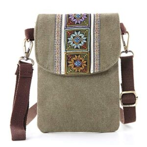 Vintage Embroidered Canvas Small Flip Crossbody Bag Cell Phone Pouch for Women Wristlet Wallet Bag Coin Purse (ArmyGreen…