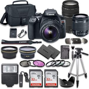 Canon EOS Rebel T6 DSLR Camera Bundle with Canon EF-S 18-55mm f/3.5-5.6 is II Lens + Canon EF 75-300mm f/4-5.6 III Lens…