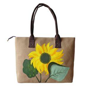 HeySun Women's Sunflower Hand-painted Lightweight Shoulder Bag Handbag