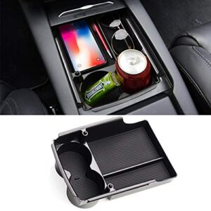 Jaronx Compatible with Tesla Model S/Model X Center Console Storage Box, Insert Organizer Tray+Cup Holder (Compatible…