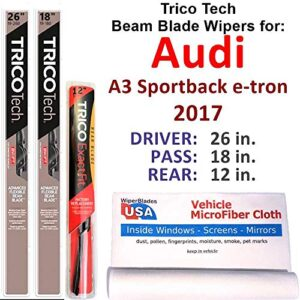 Beam Blades Wipers for 2017 Audi A3 Sportback e-tron Set w/Rear Trico Tech Beam Blades Wipers Set Bundled with…