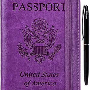 HERRIAT Passport Holder Cover Case RFID Blocking Travel Wallet Card Case