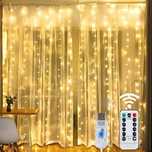 HOME LIGHTING Window Curtain String Lights, 300 LED 8 Lighting Modes Fairy Copper Light with Remote, USB Powered for…