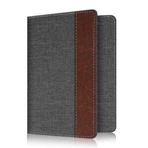 Fintie Passport Holder Travel Wallet RFID Blocking PU Leather Card Case Cover, Denim Charcoal /Brown