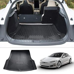 Mixsuper Rear Cargo Liner Upgrade Anti-Slip 3D TPO Durable Odorless All Weather Trunk Floor Mat for Tesla Model S All…