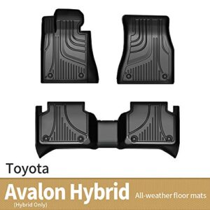 JXAUTO Floor Mats Liners TPE All-Weather Guard Compatible for 2019 2020 2021 Toyota Avalon Hybrid only, Heavy Duty 1st…