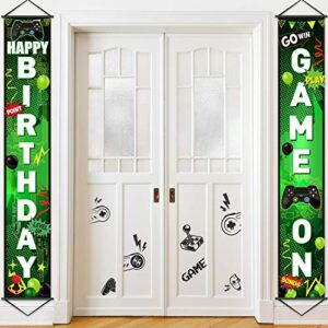 Game On Balloon Banner Video Game Party Decorations, Game Controller Door Sign Happy Birthday Backdrop Banners Miner…