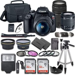 Canon EOS Rebel T7 DSLR Camera Bundle with Canon EF-S 18-55mm f/3.5-5.6 is II Lens + Canon EF 75-300mm f/4-5.6 III Lens…