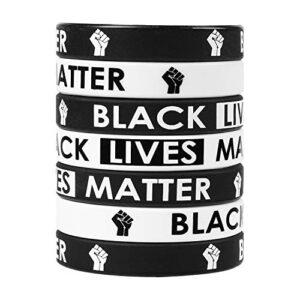 BeYumi 24 Packs Black Lives Matter Wristbands Bracelets, BLM Movement Silicone Rubber Stretch Black & White Bracelets…