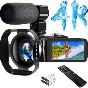 4K Camcorder Digital Video Camera WiFi Vlogging Camera Camcorders with Microphone & Remote Control 3.0″ IPS Touch Screen Vlog Camera for YouTube Video Camera
