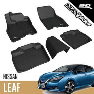 3D MAXpider L1NS09301509 Complete Set Custom Fit All-Weather Floor Mat for Select Nissan Leaf Models – Kagu Rubber…
