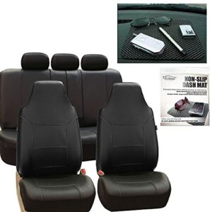 FH Group FH-PU103115 High Back Royal PU Leather Beige/Black Car Seat Covers Airbag Compatible & Split FH1002 Non-Slip…
