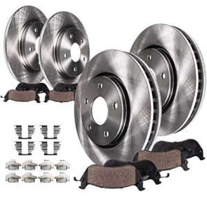 Detroit Axle – 300mm FRONT & 302mm REAR Brake Rotors & Ceramic Pads w/Hardware Replacement for 2013-2019 Ford Fusion…