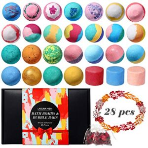 28 Pcs Bath Bombs Gift Set, Lagunamoon Handmade Bath Bombs with Bubble Bar, Vegan Pure Essential Oils & Coconut Oil…