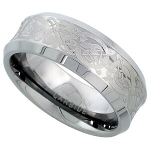 Sabrina Silver Tungsten Carbide 8 mm Concaved Wedding Band Ring Etched Celtic Dragon Pattern Beveled Edges, Sizes 7 to…