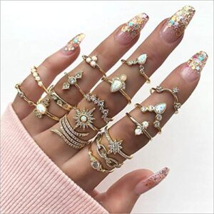 Funyrich Boho Kunckle Ring Gold Stackable Crystal Joint Rings Set Rhinestone Finger Ring Accessories for Women and Girls…