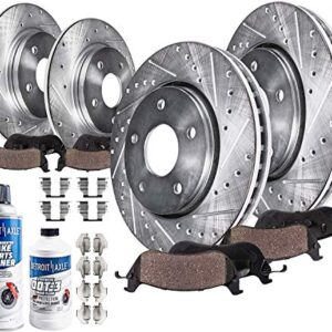 Detroit Axle – 300mm Front 302mm Rear Drilled Slotted Rotors Ceramic Brake Pads w/Hardware Replacement for 2013-19 Ford…