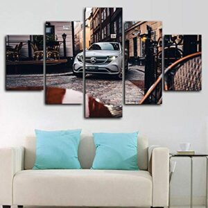 Lanuo 5 Pcs Print On Canvas – Modern Canvas Print Artwork – Mercedes- EQC 400 SUV Car Poster – for Home Office…