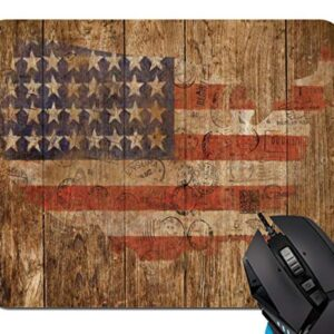 Mouse Pad,American Flag Vintage Art Wooden Wall Mouse Pad Rectangle Non-Slip Rubber Mousepad Office Accessories Desk…