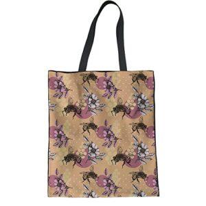 HUGS IDEA Novelty Print Women Linen Tote Bag Casual Shoudler Bag
