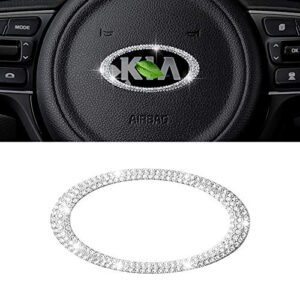 CARFIB Car Interior Bling Accessories for Kia Forte Niro Optima Rio Sorento Soul Steering Wheel Emblem Logo Ring Decal…