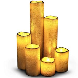 LED Lytes Flameless Timer LED Candles Slim Set of 6, 2″ (inches) Wide and 2″- 9″ Tall, Gold Coated Wax and Flickering Amber Yellow Flame for Home and Wedding Decor and decoraciones para salas de casa