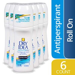 Dry Idea Antiperspirant Deodorant Roll On, Powder Fresh, 3.25 Ounce, 6 Count (Packaging may vary)