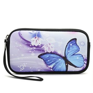 iColor Butterfly Coin Change Purse Key Holder Pouch Wallet Cell Phone Cash Case Small Handbag Camera Case Cosmetic Bag…