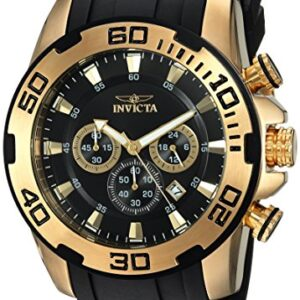 Invicta Men's Pro Diver Scuba 50mm Gold Tone Stainless Steel and Silicone Chronograph Quartz Watch, Black/Gold (Model…