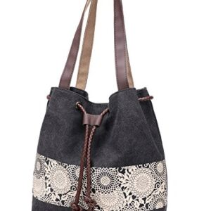 Women Printing Canvas Shoulder Bag Casual Hand Bags Purse with Leather Straps