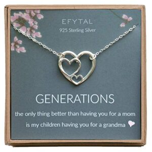 EFYTAL Mother's Day Gift for Grandma, Sterling Silver Triple Heart Necklace for Grandmother, Mom and Children
