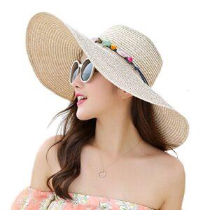 Adrinfly Women Foldable Floppy Wide Brim Straw Sun Hat Travel Packable Adjustable Summer Beach Accessories Hat UV UPF 50…