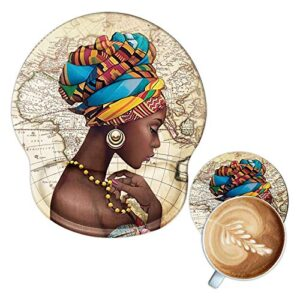 Ergonomic Mouse Pad with Gel Wrist Rest Support,Afriacn American Girls Custom Mousepad with A Coaster,Non Slip PU Base…