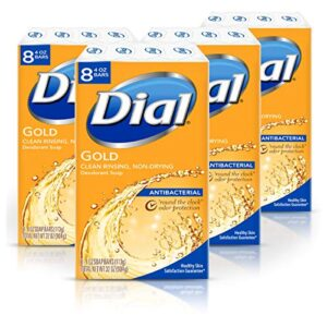 Dial Antibacterial Bar Soap, Gold, (Each 8 Count of 4 oz Bars) 128 Ounce (Pack of 4)