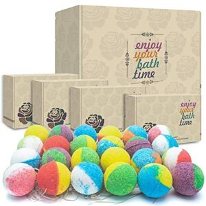 24 Organic & Natural Bath Bombs, Handmade Bubble Bath Bomb Gift Set, Rich in Essential Oil, Shea Butter, Coconut Oil…