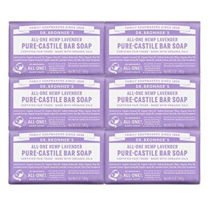 Dr. Bronner's – Pure-Castile Bar Soap (Lavender, 5 ounce, 6-Pack) – Made with Organic Oils, For Face, Body and Hair…