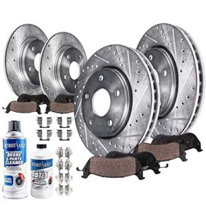 Detroit Axle – 300mm FRONT 302mm REAR DRILLED Brake Rotors Ceramic Pads w/Hardware Replacement for 2013-2019 Ford Fusion…