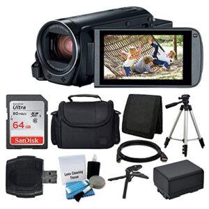 Canon VIXIA HF R800 Camcorder (Black) + SanDisk 64GB Memory Card + Digital Camera/Video Case + Extra Battery BP-727…
