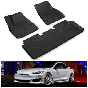 KIWI MASTER Floor Mats Compatible for 2012-2020 Tesla Model S Accessories All Weather Protector Mat Front & Rear 2 Row…