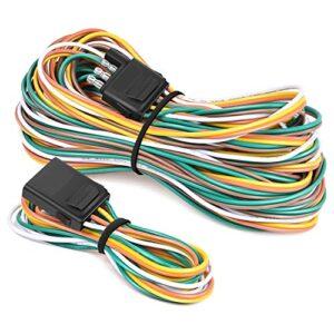 Nilight – 10039W 4 Pin Flat Trailer Wiring Harness Kit 18AWG 25Feet Male 4Feet Female Wishbone-Style Wiring Harness…